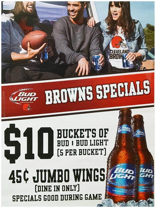 Zig's Browns Game Specials